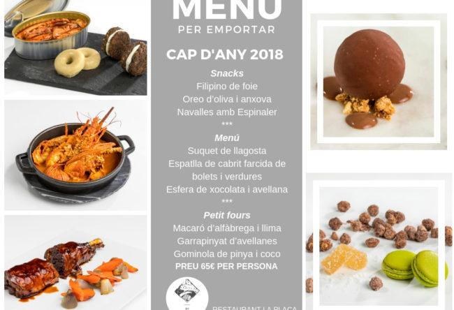 Menu cap d'any per emportar restaurant la plaça madremanya